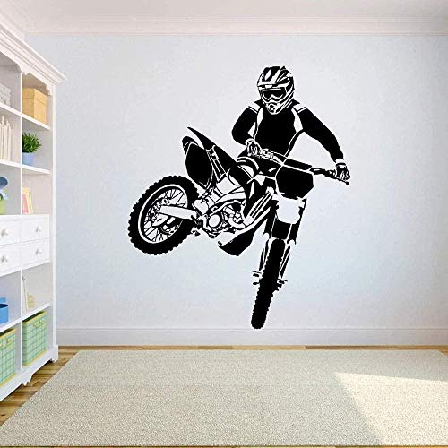 Pegatina De Pared Volante Creativo Bicicletas Todoterreno Dormitorio Deportes Bicicleta Todoterreno Motocicleta Decoración Del Hogar Habitación Para Adolescentes Wallpaper-80X66Cm_Negro