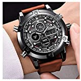 Micacchi Analogue Digital Multi Colour Dial Leather Brown Strap Mens Watches Boys Watch