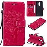 Nancen Compatible with Handyhülle LG K40 / K12 Plus Hülle, Flip-Hülle Handytasche - Standfunktion Brieftasche & Kartenfächern - Baum & Katze - Rose Red