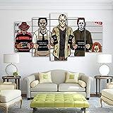 Jgophu Leinwand Hd Drucke Wandkunst Bilder 5 Stücke Comics Gemälde Horror Movie Poster Wohnzimmer Dekor 40X60X2 40X80X2 40X100 cm