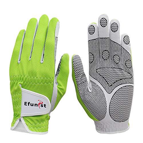 Efunist Men's Golf Glove 2 Pack Left Hand Hot Wet Weather No Sweat Non-Slip Fit Size Small Medium Large XL (Worn on Left Hand(Right-Handed Golfer), 23=Medium)