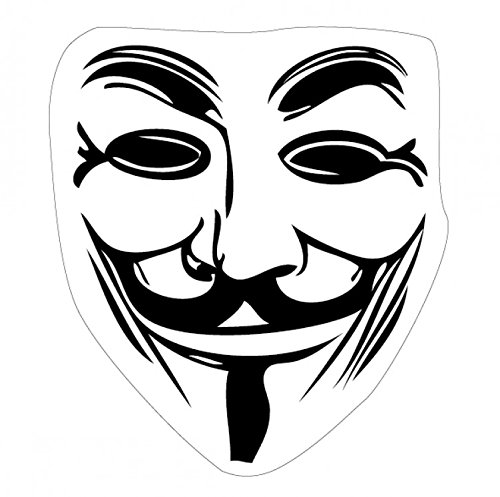 1art1 V Wie Vendetta - Guy Fawkes Maske Poster-Sticker Tattoo Aufkleber 9 x 9 cm