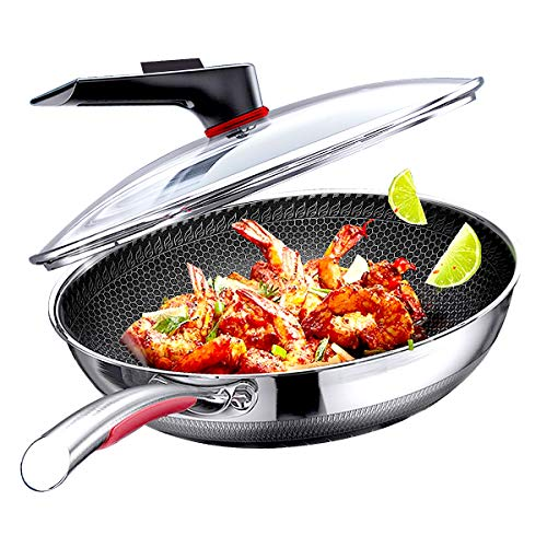 Megoo 12.6 inch stainless steel nonstick wok with lid wok and stir fry pans with double-sided honeycomb special process frying pan large nonstick saute pan fry pan pots and pans for dishwasher safe