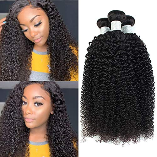 Brazilian Virgin Human Hair Bundles Kinky Curly Hair Weft 3 Bundles Deals Curly Hair Products for Black Women 100% Unprocessed Human Hair Extensions Natural Black (20 22 24 inch)