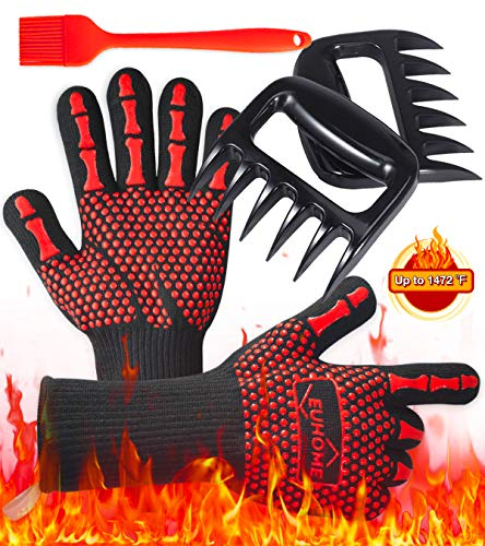 Buy EUHOME 3 in 1 Grilling Set Accessories with EN407 Certified 1472 Extremely Heat Resistant Gloves...