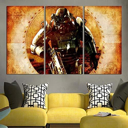 Cuadro Pared Pintura Decor Moderna Tríptico 3 Piezas Impresión De Lienzo Decor Hogar Sala Estar Dormitorio Infantil Oficina Club Corredor Mural Regalo 50Cmx70Cmx3(Marco) Fallout City 4