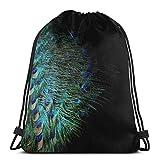 Yuanmeiju Peacock Feather Shoulder Bolsa con cordón Backpack String Bags School Rucksack Gym Sport Bag Lightweight