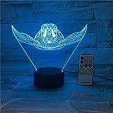 Lámpara 3D de tortugas marinas LED de luz táctil Lámpara colorida de animales Decoración de fiesta de cumpleaños Lámpara de mesa para regalo de juguetes para niños