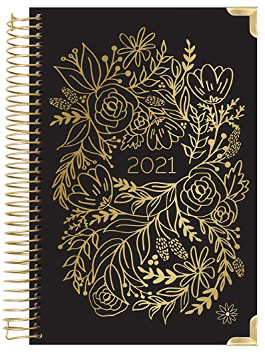 HARDCOVER bloom daily planners 2021 Calendar Year Day Planner January 2021 - December 2021 - PassionGoal Organizer - Monthly Weekly Inspirational Agenda Book - 6 x 825 - Gold Embroidery