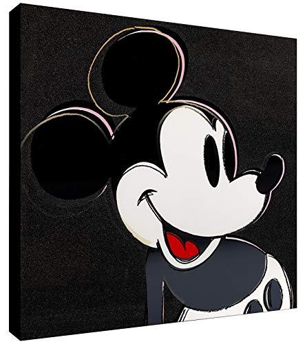 Andy Warhol - Mickey Mouse Pop Art Kunstdruck auf Leinwand, gerahmt, verschiedene Größen, Schwarz, holz, rose, 20x20 inch square