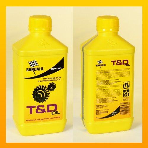 Bardahl 423040 T&D Oil SAE 85W140 Lubrificante Speciale per Trasmissioni Manuali e Differenziali Ingranaggi 1 LT, MUTLICOLORE