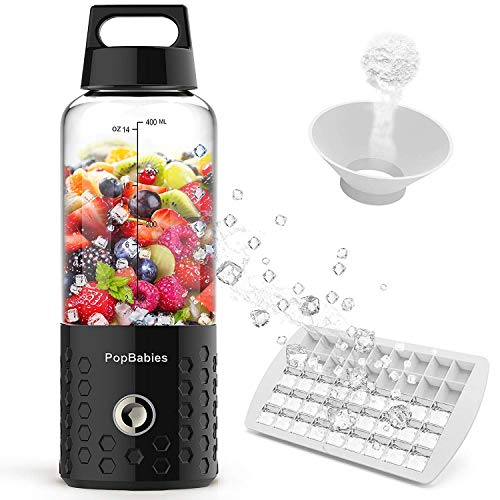 PopBabies P20 Portable, Personal USB Rechargeable Small Blender for Shakes and Smoothies, Stronger and Faster with Ice Tray Funnel Recipe, Black