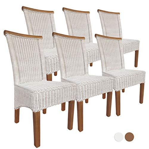 casamia Esszimmer-Stühle Set Rattanstühle Perth 6 Stück weiß Sitzkissen Leinen weiß Farbe ohne Sitzkissen