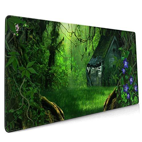Digitale kunst 3d Phantasmagoria bomen bos bloemen bouwen muis pad niet slip Rubber grote Gaming Keyboard Mat 15.8x35.5 In