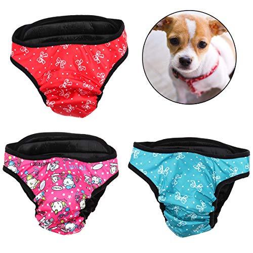 UEETEK 3 Pcs Hundewindeln Inkontinenz einstellbar und waschbar Hundeschutzhose für Hündinnen Baumwolle Unterwäsche Größe M