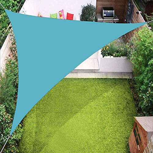 YTQ Vele Parasole A Vela Triangolare Impermeabile per Tenda da Sole per Giardino, Patio, Piscina All'aperto con Occhiello E Tre Corde, Colori Multipli 3.6x3.6x3.6M(Color:Azzurro)