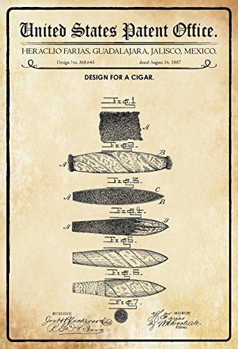 Schatzmix United States Patent Office - Design for a Cigar - Entwurf für EIN Zigarre - Farias, Mexico, 1887 - Design No 368.643 - Blechschild