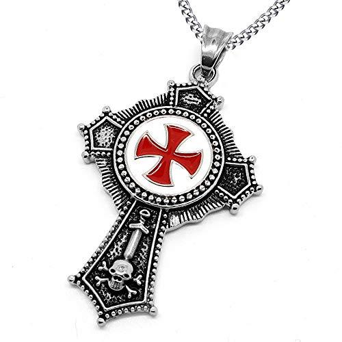 BOBIJOO JEWELRY - Medaglione Ciondolo Uomo Ordine Religioso dei Templari in Acciaio Croce Rossa + Catena
