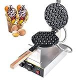 Bubble Waffeleisen, Professionelles Bubble Waffelmaker, Gewerblichen 1400w Ei Waffle Maker mit Antihaftbeschichtung aus Edelstahl, 180° Drehbar, 30 Löcher, für Imbiss, Café, Bäckerei oder Zuhause