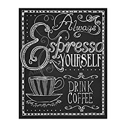Gifts for Coffee Lovers - Black and White Wall Art Expresso Yourself