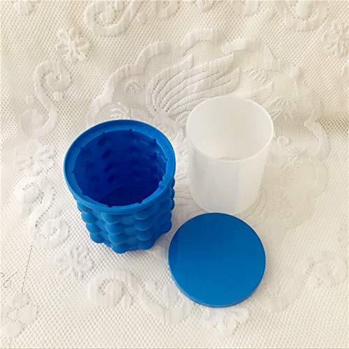 Cubeta de hielo Silicona Hielo cubo cubo cubo portátil vino hielo refrigerador Cerveza gabinete espacio ahorro de cocina herramientas de cocina beber whisky congelación (Color : Blue)