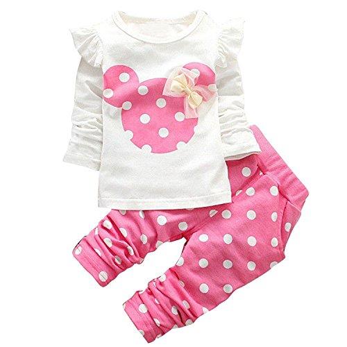 JIAJIA YL Baby Mädchen Kleidung Set Top Langarm Shirt + Pants Bekleidungsset Outfits (Pink, 12-18M)