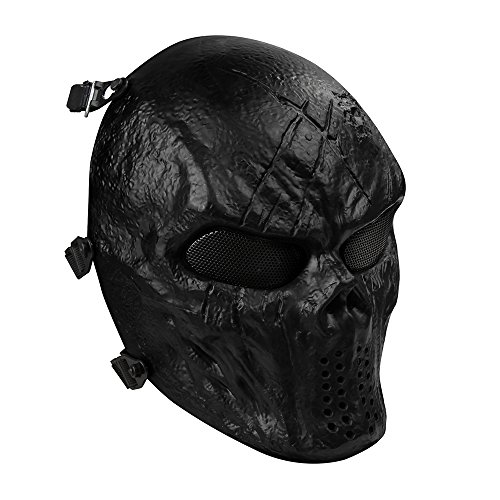 OutdoorMaster Airsoft Mask - Full Face Mask with Mesh Eye Protection (Black)