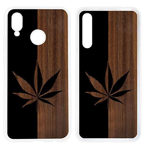 Handyhülle Weed für Huawei Silikon Hülle Gras Marihuana Cannabis Canabis Hanf Holz Holzhülle Bang, Hüllendesign:Design 2 | Silikon Klar, Kompatibel mit Handy:Huawei P20 Pro