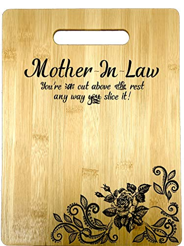 """Gift for Mother In Law Engraved Bamboo Cutting board 9"""" x 12"""