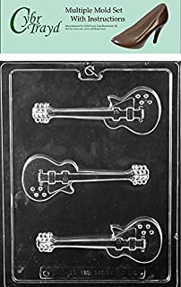 CybrTrayd J110-3BUNDLE Electric Guitar Chocolate Candy Molds (3 Pack), Clear