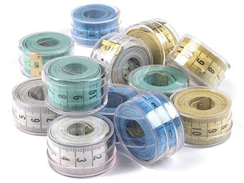 Da.Wa 4 Stück Weiche Maßband mit Bandmass Aufbewahrungsdose,für Nähen Schneider Tuch Herrscher Messwerkzeug,Zufällige Farbe,150cm,60inch