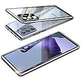 Magnética Funda para Samsung Galaxy Note 20 Ultra 5G, Protector de Lente de cámara Doble Vidrio Templado Case Marco Metal Funda Protección 360 Grados Alta definición Camera Protector Cubierta - Plata