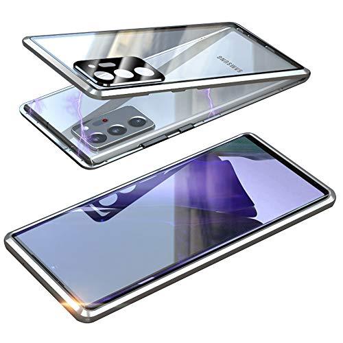 Magnética Funda para Samsung Galaxy Note 20 5G, Protector de Lente de cámara Doble Vidrio Templado Case Marco Metal Funda Protección 360 Grados Alta definición Camera Protector Cubierta - Plata