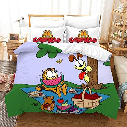 Garfield Bedding Set Queen 3D Printing Cartoon Garfield Cat Quilt Cover Soft Mircofiber 3 Piece with Zipper Closure Including 1 Duvet Cover 2 Pillowcase, Best Gift for Kids Teens