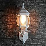 Lámpara de pared exterior rústica blanca 1 x E27 hasta 60 W, 230 V, IP23, lámpara decorativa para entrada de casa o entrada, farol nostálgico para iluminación del patio