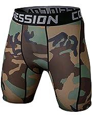 Mallas Hombre Cortas compresivas para Ciclistas, Correr, Pesas y Deportes. Pantalon Corto eslastico. (Militar Verdes)