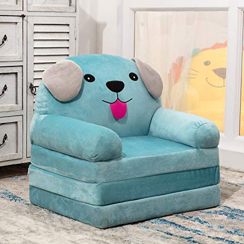 HIGOGOGO Cartoon Foldable Kids Sofa, Plush Dog Shape Children Couch Backrest Armchair Bed with Pocket, Upholstered 2 in 1 Flip Open Couch Seat for Infant Toddler Baby Boys Girls, Blue