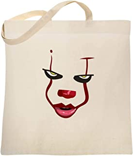Clown Face Horror Scary Movie Halloween Costume Large Canvas Tote Bag Women