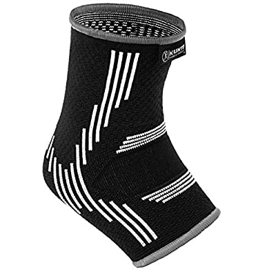 Kunto Fitness Ankle Brace Compression Support Sleeves (1 Pair) for Joint Pain, Achilles Tendon, Plantar Fasciitis, Swelling Relief, Injury Recovery (Large, White-Gray)