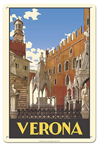 Pacifica Island Art Verona, Italy - Piazza Delle Erbe Square - Vintage Travel Poster c.1938-8in x 12in Vintage Tin Sign