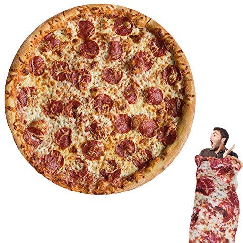 HahaGo Pizza Coperta Coperte di Burrito Divano Morbido e Morbido Mantello Asciugamano da Spiaggia Tappeto per Camera da Letto all'aperto Quattro Stagioni(150cm / 60in) (Pizza)