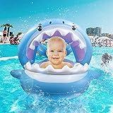 Aufblasbarer Hai für den Pool | Schwimmring für Babies/Kinder 6-36 Monate bis 35 kg | Abnehmbares Sonnendach | Süße Schwimminsel mit Glocken & Griffen für mehr Sicherheit Baby Pool Schwimmen