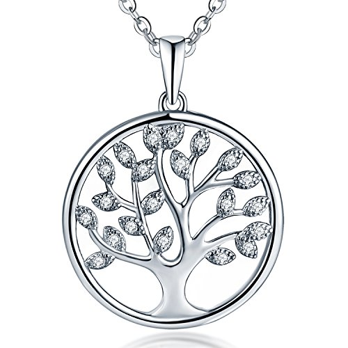JO WISDOM Tree of Life Necklace,925 Sterling Silver AAA Cubic Zirconia April Birthstone Family Tree Pendant Necklace,Jewellery for Women