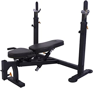 Powertec Fitness WB-OB16 Olympic Bench Black Adjustable Weight Benches, Black