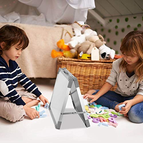 Small Dry Erase White Board – Magnetic Desktop Foldable Whiteboard Portable Mini Easel Double Sided on Table Top with Holder for Kids Drawing, Teacher Instruction, Memo Board.