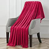 Flannel Fleece Blanket Throw Luxury Microfiber Super Soft Lightweight Blanket for Couch,Bed,Chair,Sofa,Rose Wine,50'×70'