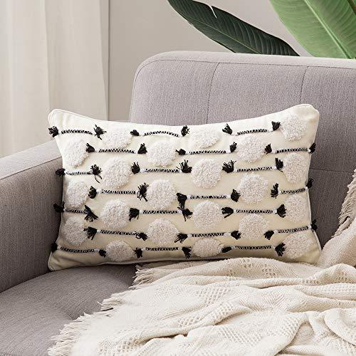 MIULEE 1 Stück Dekorative Kissenbezug Baumwolle Dekokissen Boho Super Weich Kissenbezüge Quaste Decor Kissenhülle für Sofa Couch Schlafzimmer Wohnzimmer 12X20inch 30x50cm