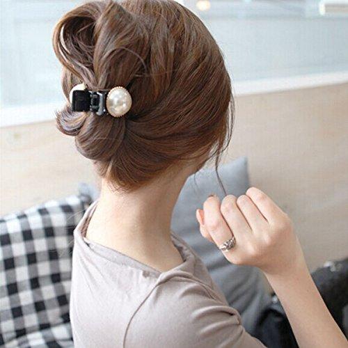 Frcolor, fermaglio per capelli con perle e strass, da donna, di colore bianco e nero