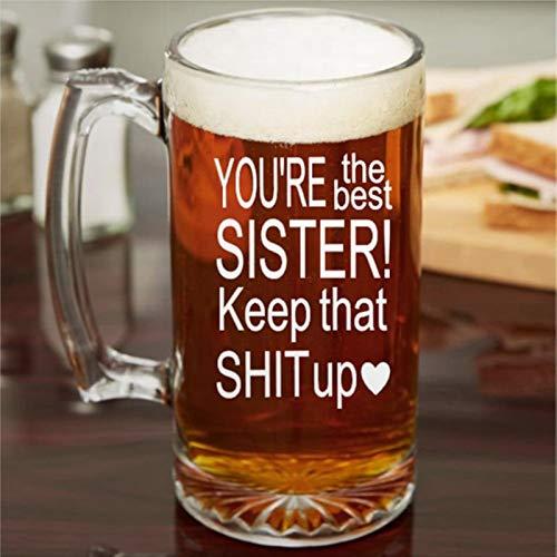 Regalo para hermanas, regalo de cumpleaños para hermanas, hermanas, copas de vino divertidas, sin tallo, grabado a láser, vaso de whisky personalizado y de chupito, idea única