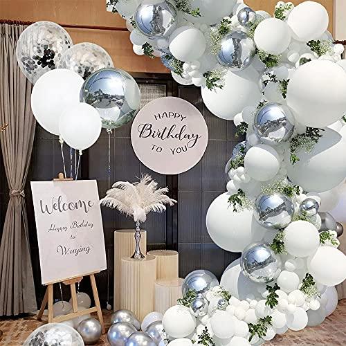 Juego de 125 guirnaldas de globos blancos y plateados, con globos gigantes,...
